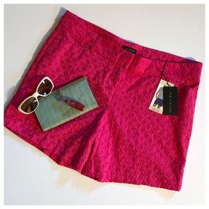THE LIMITED Hot Pink Eyelet Cotton Shorts NWT